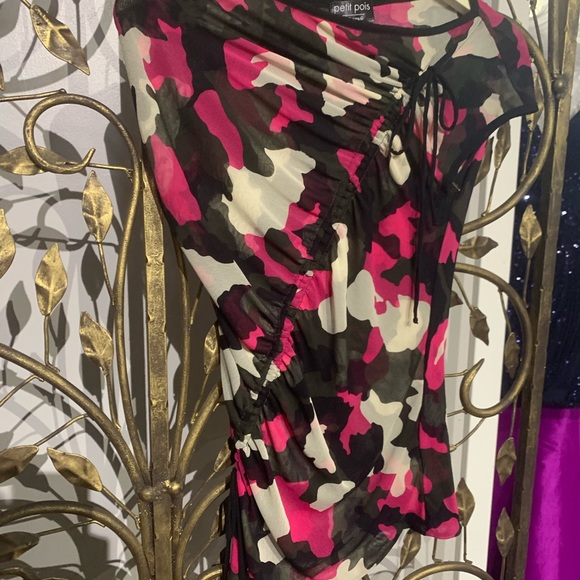 petit pois Tops - Petit pois pink and black scrunch up tie camo